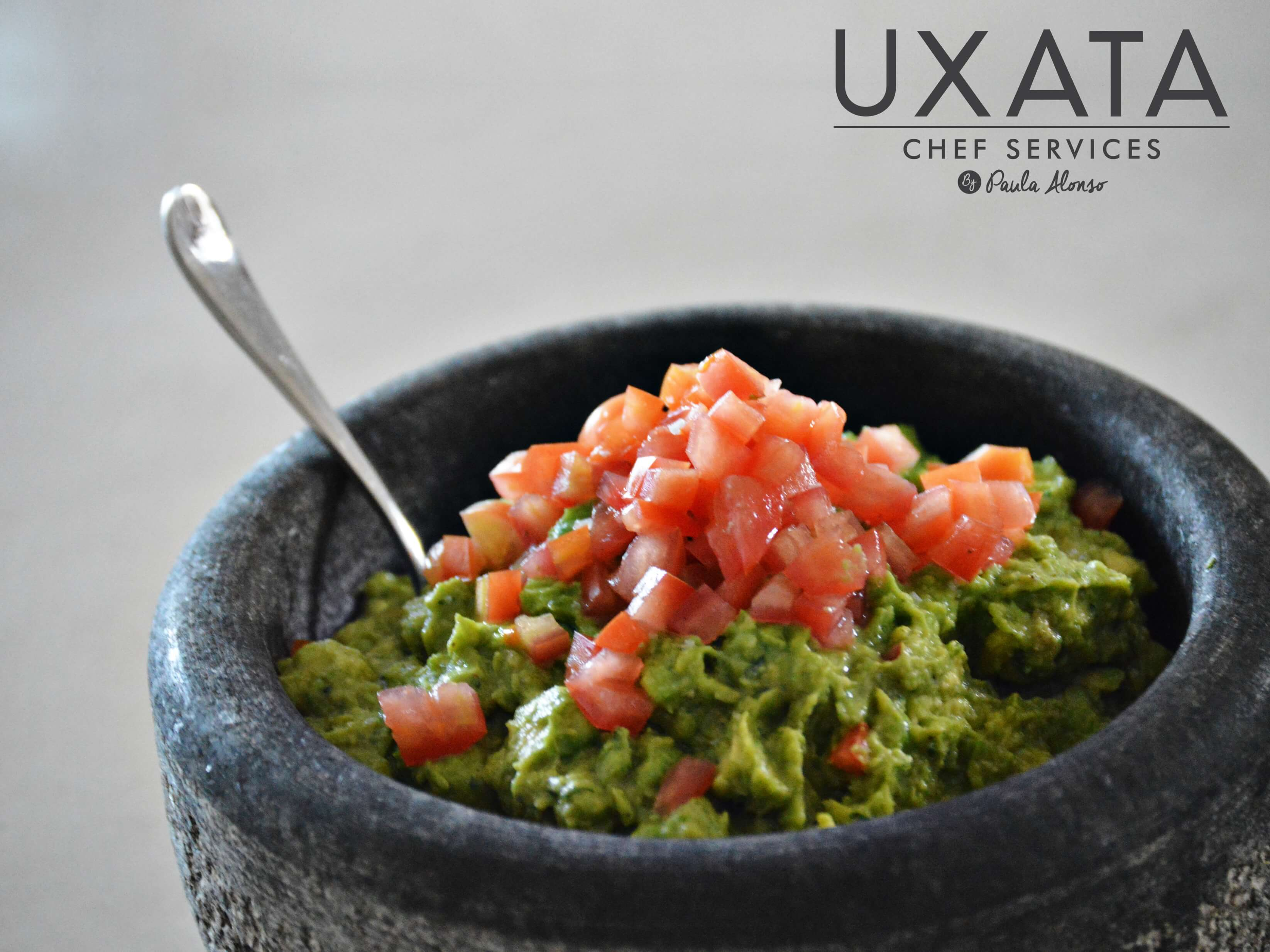 Molcajete with traditional guacamole, by UXATA Private Chef Services, Riviera Maya.