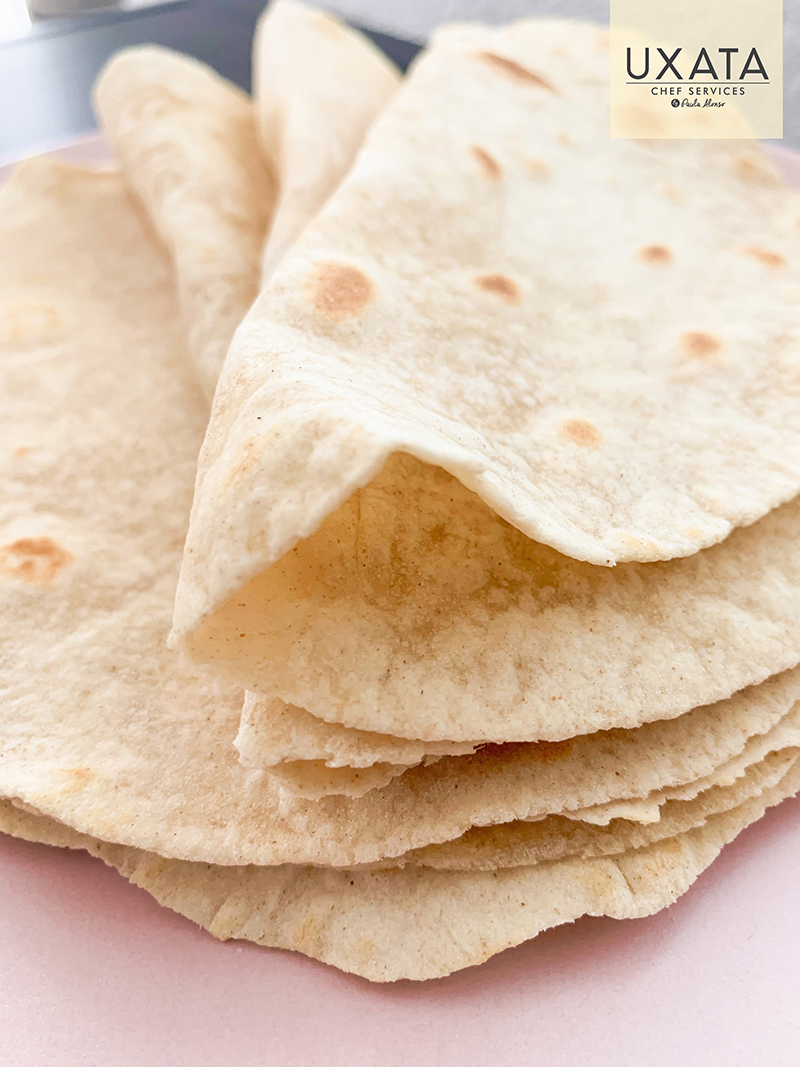 Homemade traditional mexican flour tortillas UXATA Cooking Classes in Riviera Maya