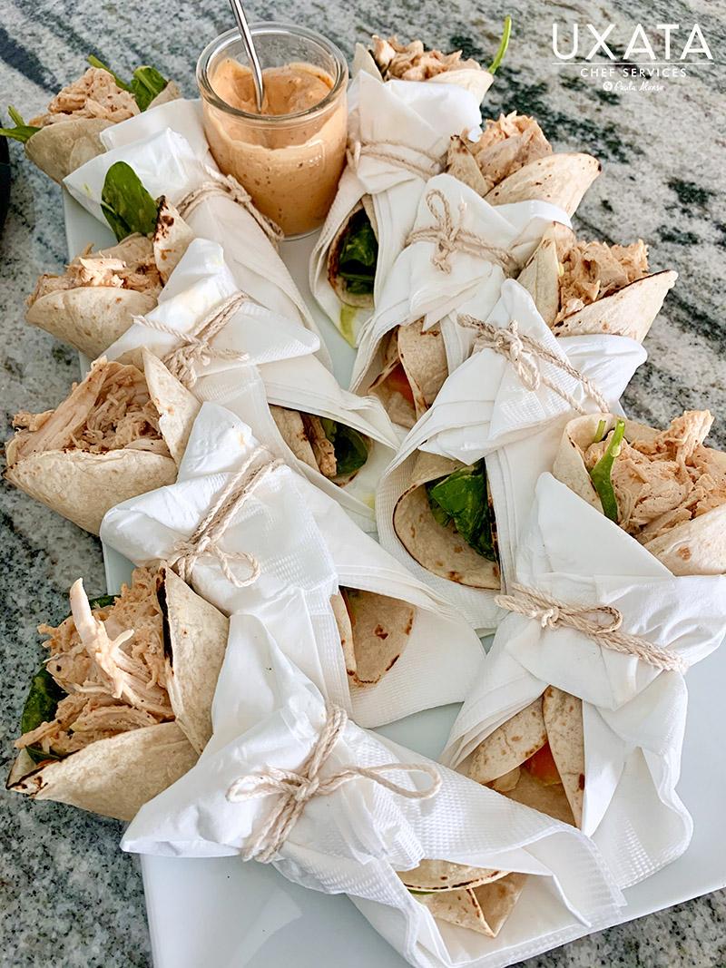 Presentation of snacks at a bachelor party in Punta Maroma, Riviera Maya.