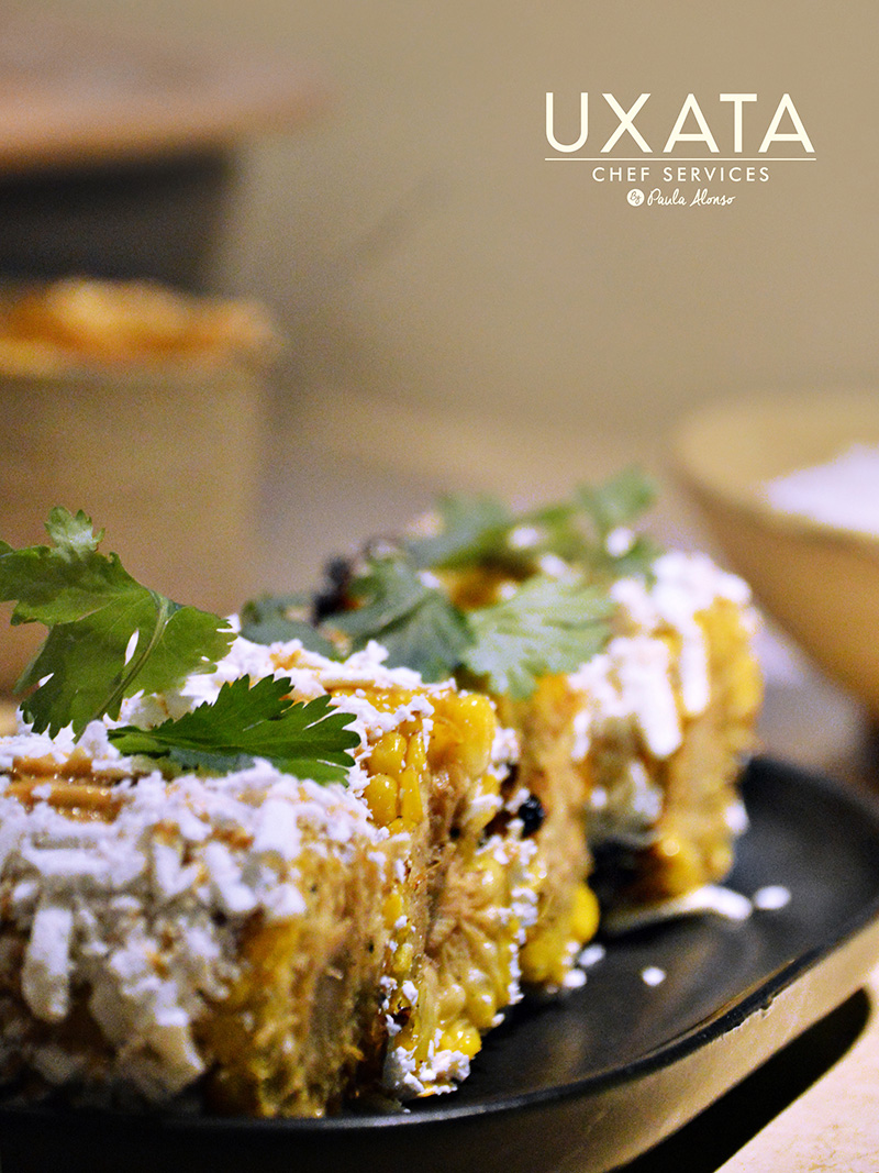 Roasted ears of corn with sour cream and cheese by UXATA Personal Chef Services