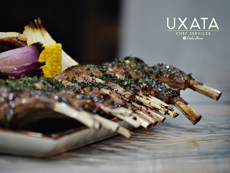 Roasted lamb ribs with grilled vegetables by UXATA Private Chef Services, Riviera Maya, México.