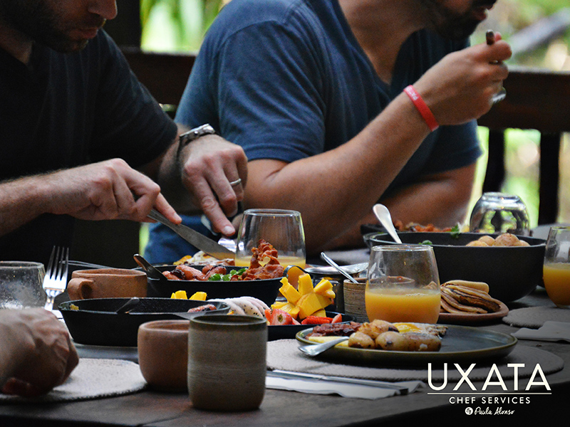 Men having lunch at the table in a bachelor party, by UXATA Private Chef Services, Riviera Maya.