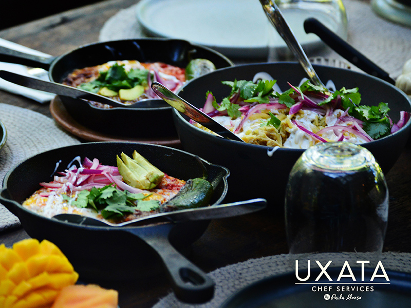 Three Mexican style egg casseroles for a Brunch in Punta Maroma, by UXATA Personal Chef Services.
