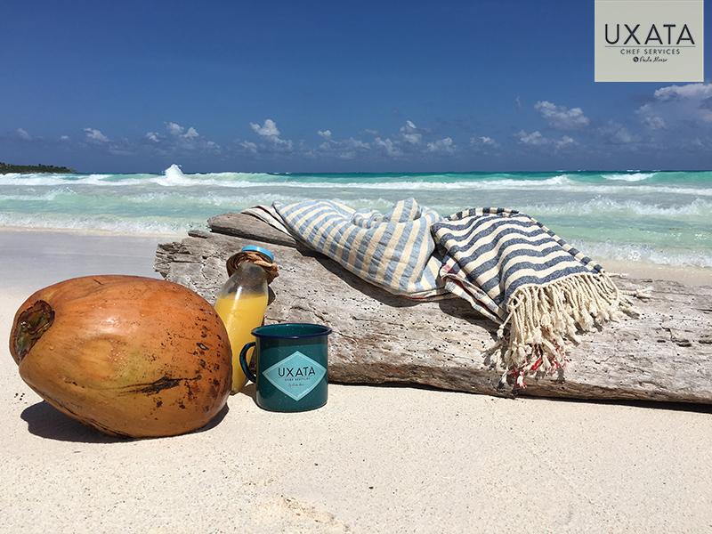 Un coco, una botella de jugo de naranja, un jarro de UXATA Servicios de Chef Privado, un tronco encayado, el cielo y el mar turquesa de la playa en Xpu Ha, Riviera Maya, México.